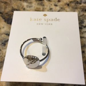 "kate spade forever mine silver ""P"" initial ring"